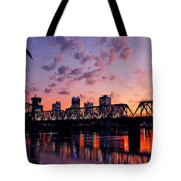 Little Rock Bridge Sunset Tote Bag