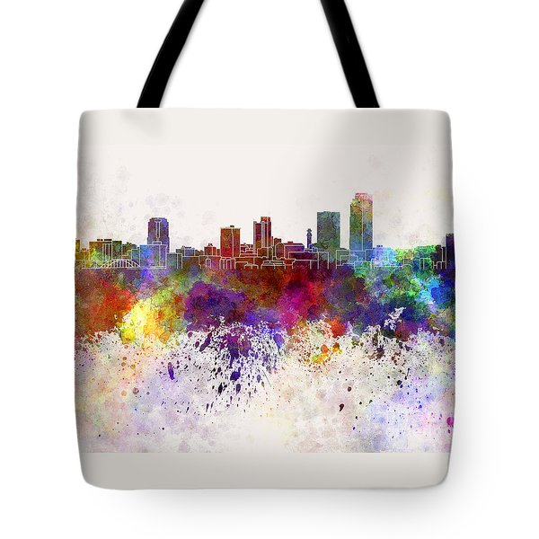 Little Rock Skyline In Watercolor Background Tote Bag by Pablo Romero