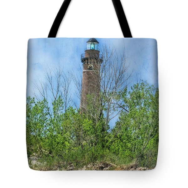Little Sable Lighthouse Tote Bag by Joan Bertucci