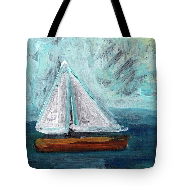 Little Sailboat- Expressionist Painting Tote Bag