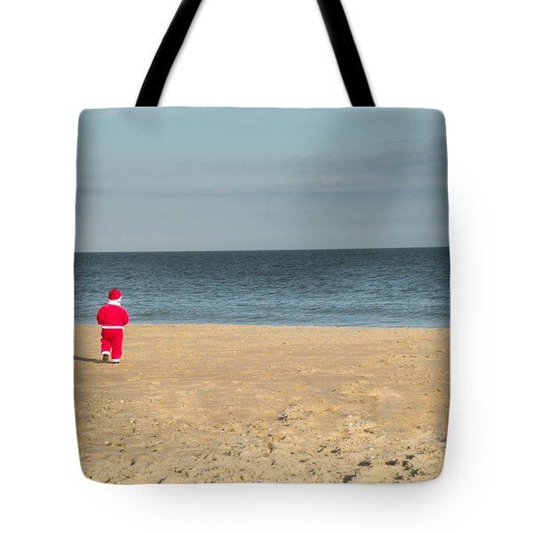 Little Santa On The Beach Tote Bag