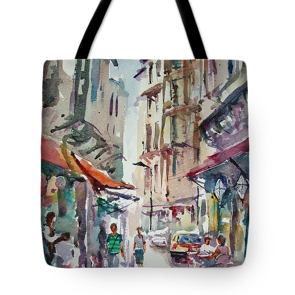 Tote Bag featuring the painting Little Trip At Exotic Streets In Istanbul by Faruk Koksal