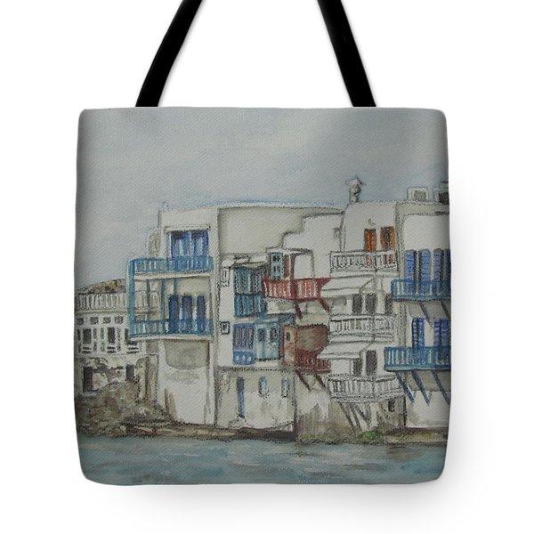 Little Venice Mykonos Greece Tote Bag