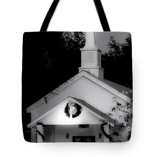 Little White Church Bw Tote Bag by Debra Forand