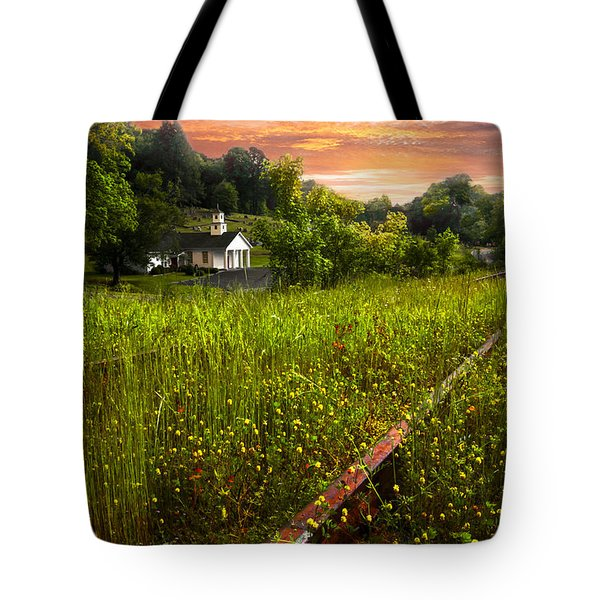 Little White Church Tote Bag by Debra and Dave Vanderlaan