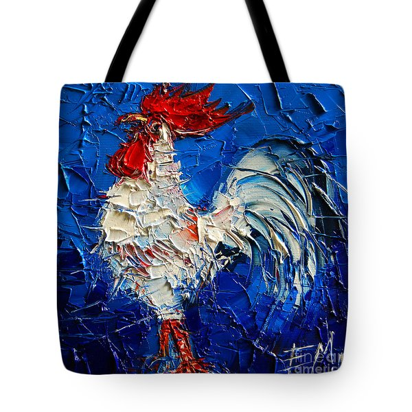 Little White Rooster Tote Bag by Mona Edulesco