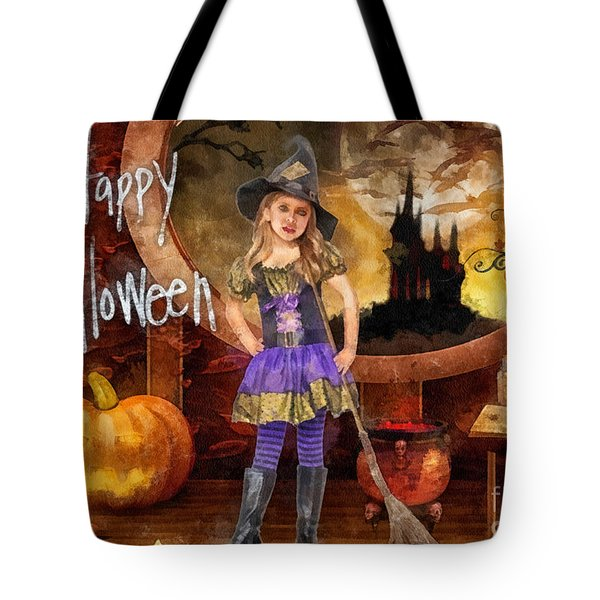 Little Witch Tote Bag by Mo T