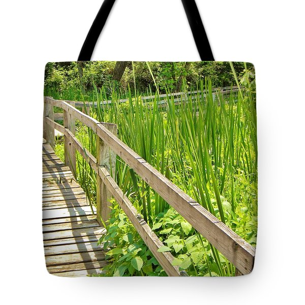Little Wooden Walking Bridge Tote Bag by Jean Goodwin Brooks