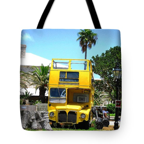 Tote Bag featuring the photograph Little Yellow Bus by Judy Palkimas