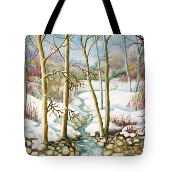 Tote Bag featuring the painting Living Creek by Inese Poga