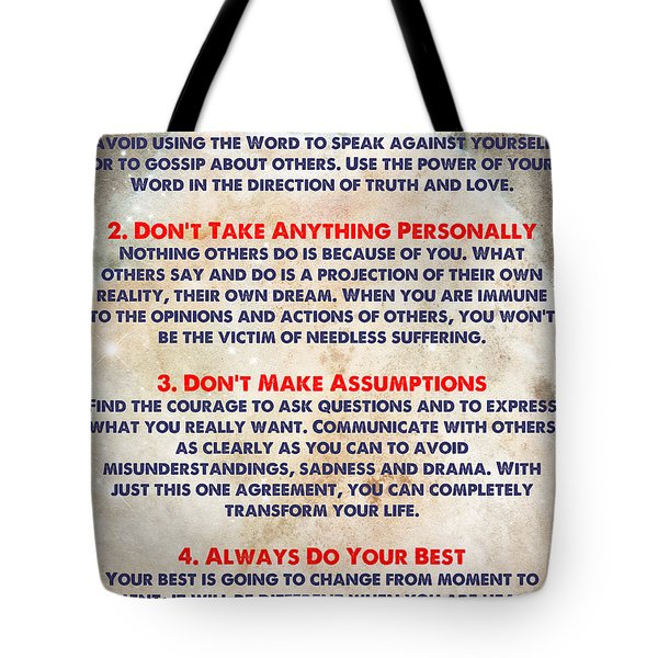 Tote Bag featuring the painting Living The Four Agreements - Wisdom Of The Toltecs by Celestial Images