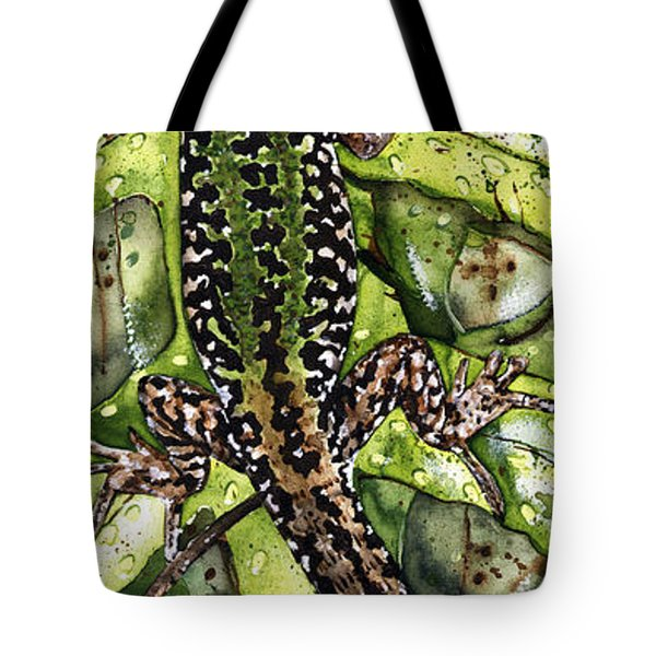 Lizard In Green Nature - Elena Yakubovich Tote Bag