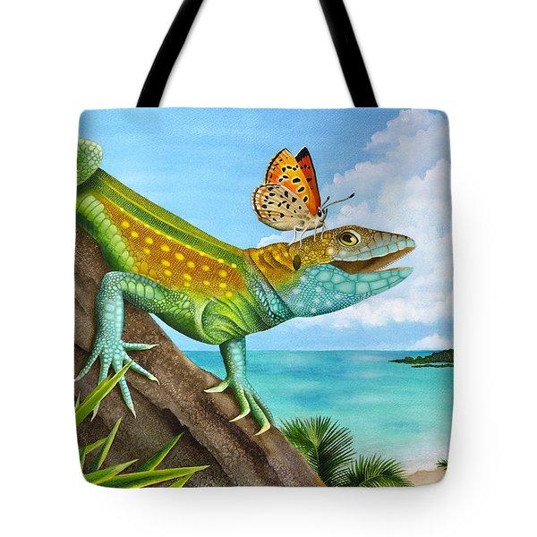 Lizard Landing Tote Bag by Carolyn Steele