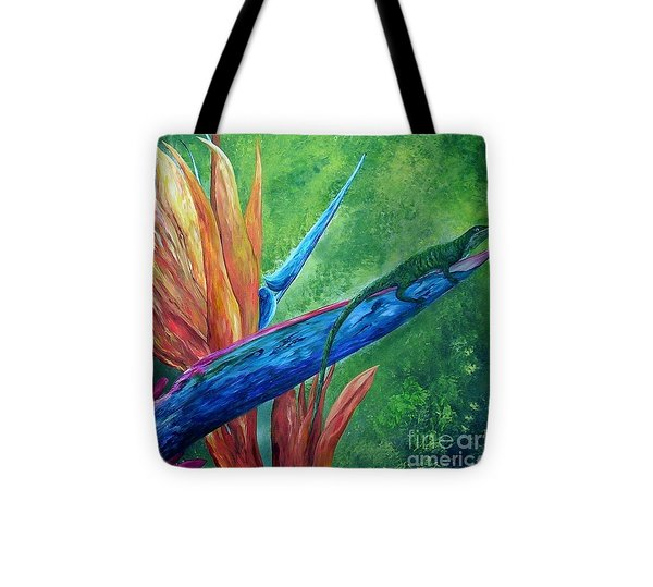 Lizard On Bird Of Paradise Tote Bag by Eloise Schneider