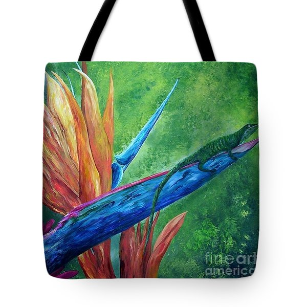 Tote Bag featuring the painting Lizard On Bird Of Paradise by Eloise Schneider