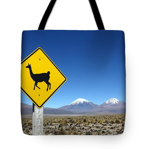 Llamas Crossing Sign Tote Bag by James Brunker