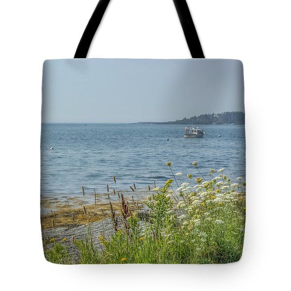 Tote Bag featuring the photograph Lobster Boat At Rest by Jane Luxton