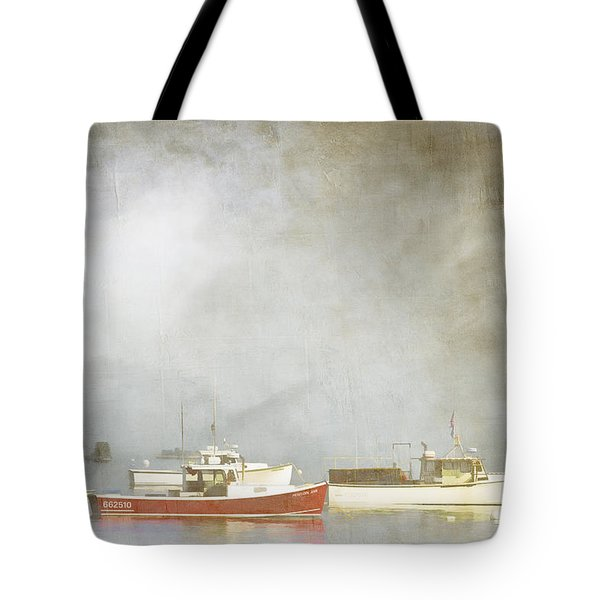 Lobster Boats At Anchor Bar Harbor Maine Tote Bag by Carol Leigh