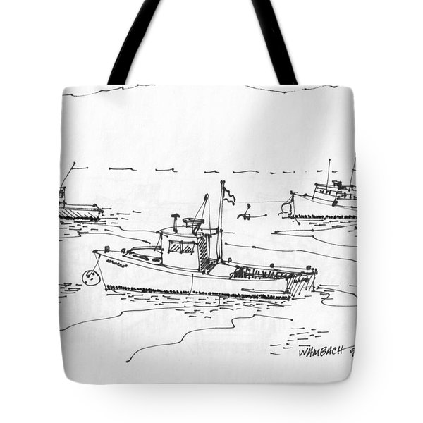 Tote Bag featuring the drawing Lobster Boats Monhegan Island 1993 by Richard Wambach