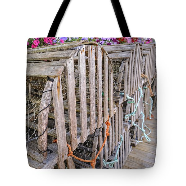 Tote Bag featuring the photograph Lobster Boxes Camden Maine by Marianne Campolongo