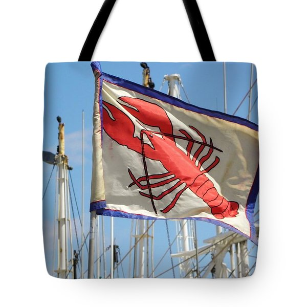 Lobster Flag At The Point Tote Bag by Mary Carol Williams