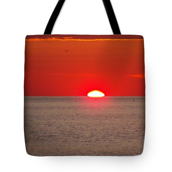 Lobster Pots Dance In The Sea  At Sunrise Tote Bag by Eunice Miller
