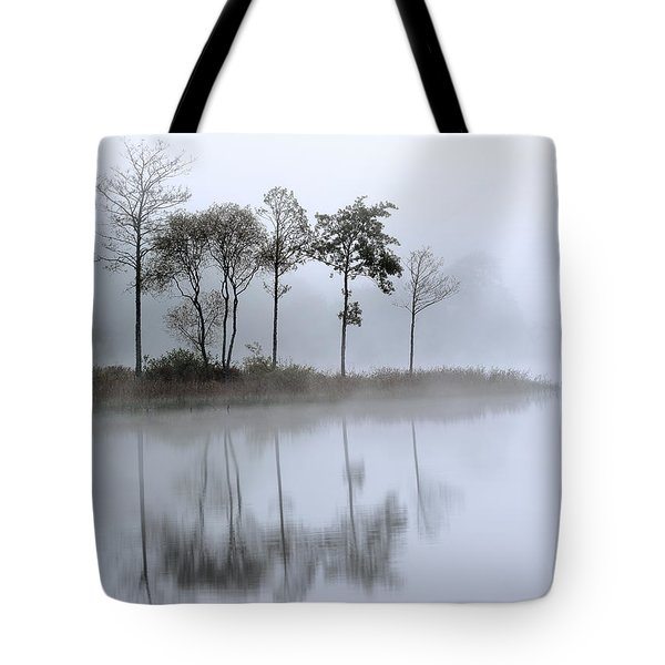 Loch Ard Trees In The Mist Tote Bag