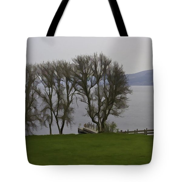 Loch Ness And Boat Jetty Next To Urquhart Castle Tote Bag