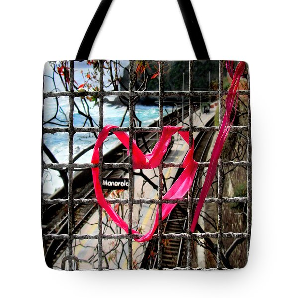 Tote Bag featuring the photograph Lock And Love.cinque Terre.italy by Jennie Breeze