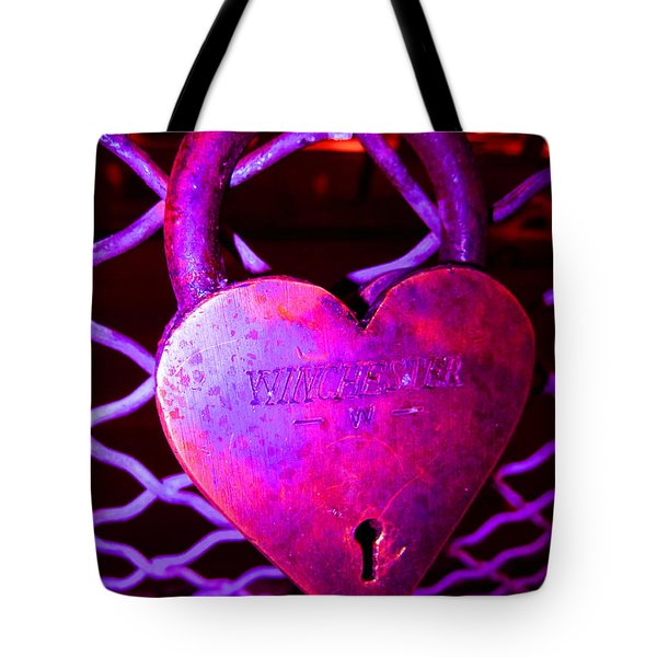 Lock Of Love In Pink Tote Bag by Kym Backland