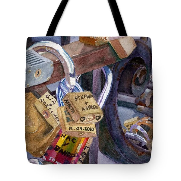 Tote Bag featuring the painting Locks Of Luck by Lynne Reichhart