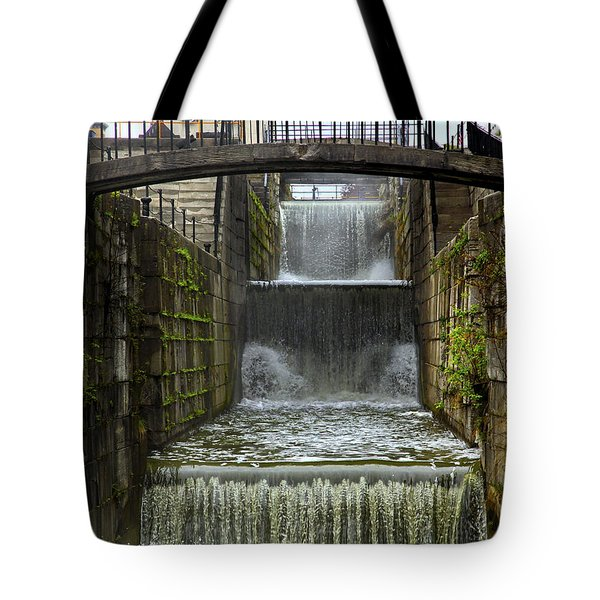 Lockport Falls Tote Bag by Richard Engelbrecht