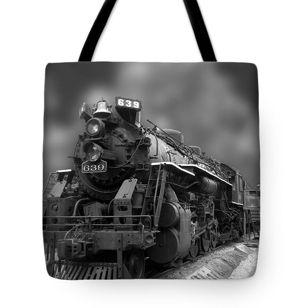 Locomotive 639 Type 2 8 2 Front And Side View Bw Tote Bag by Thomas Woolworth