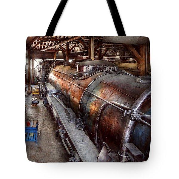 Locomotive - Routine Maintenance  Tote Bag by Mike Savad