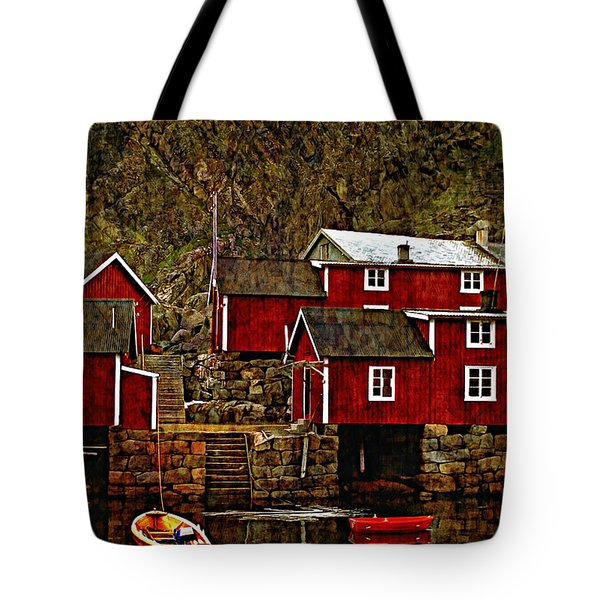 Lofoten Fishing Huts Overlay Version Tote Bag by Steve Harrington
