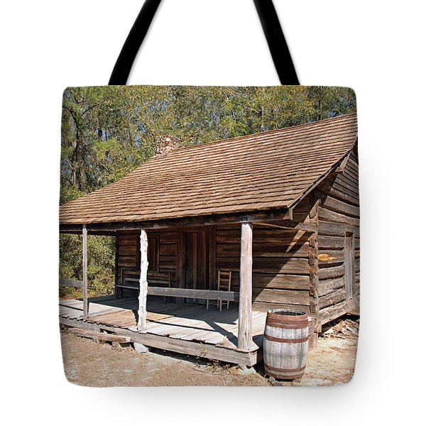 Tote Bag featuring the photograph Log Cabin by Charles Beeler