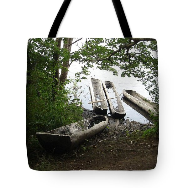 Tote Bag featuring the photograph Log Canoes by Kerri Mortenson