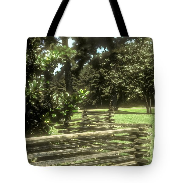 Log Fencing Tote Bag by Bob Phillips