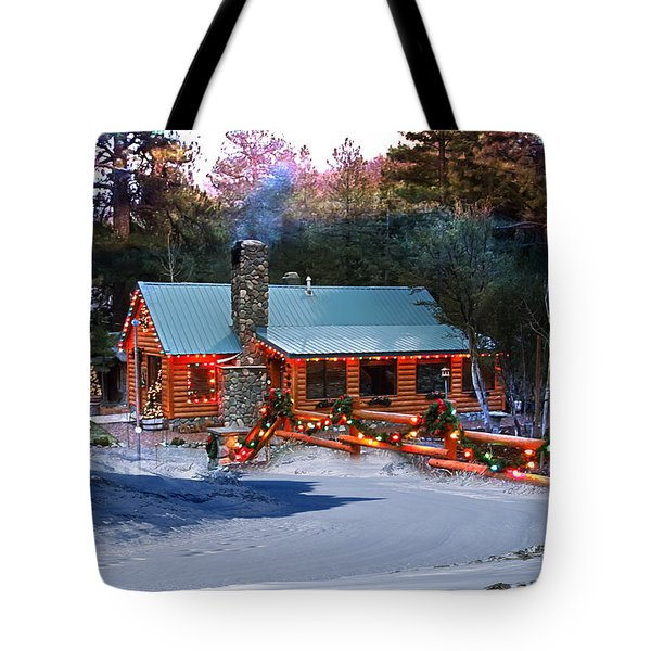 Tote Bag featuring the photograph Log Home On Mount Charleston With Christmas Decoration by Gunter Nezhoda