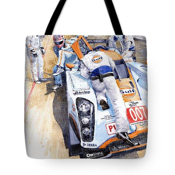 Lola Aston Martin Lmp1 Gulf Team 2009 Tote Bag by Yuriy  Shevchuk
