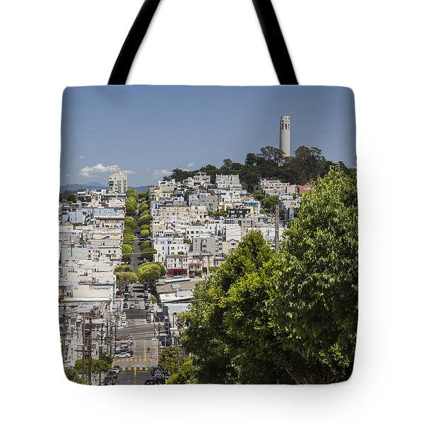 Lombard Street And Coit Tower On Telegraph Hill Tote Bag