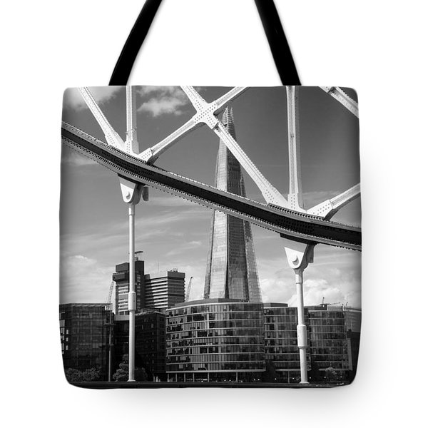 London Bridge With The Shard Tote Bag by Chevy Fleet