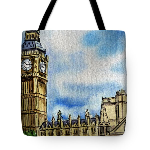London England Big Ben Tote Bag by Irina Sztukowski