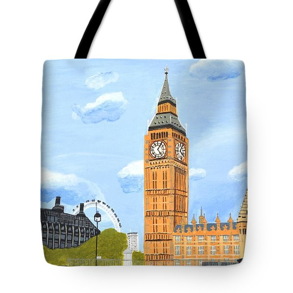 Tote Bag featuring the painting London England Big Ben  by Magdalena Frohnsdorff