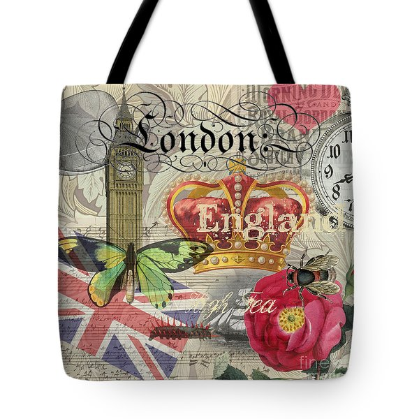 London England Vintage Travel Collage  Tote Bag