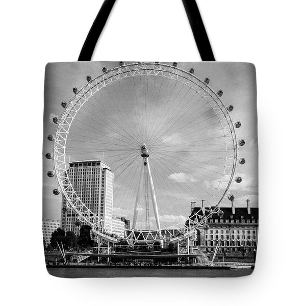 Tote Bag featuring the photograph London Eye Head-on Bw by Matt Malloy