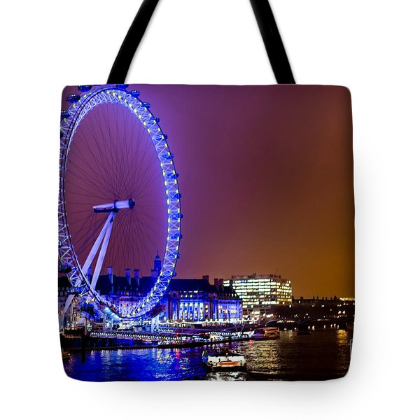 Tote Bag featuring the photograph London Eye Night Glow by Matt Malloy