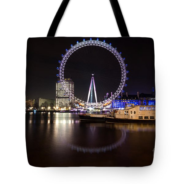 Tote Bag featuring the photograph London Eye Night by Matt Malloy