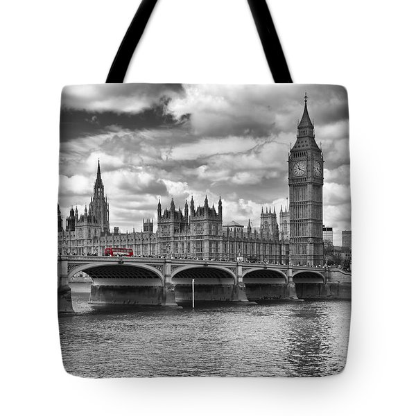 London - Houses Of Parliament And Red Buses Tote Bag