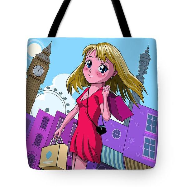 London Manga Shopping Girl Tote Bag